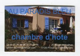 Carte De Visite °_ Carton-Chambre D'Hôte-Au Paradis Bleu-11 Pouzols - Visiting Cards