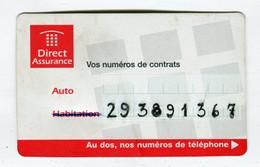 Carte De Visite °_ Carton-Direct Assurance-Vos Numéros-2001 - Visiting Cards
