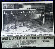 ► AVIATION (1958) Heliport D'Issy - Essai SO PE MEA Avion Max Holste Broussard  - Coupure De Presse (Encart Photo) - Historical Documents