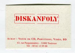 Carte De Visite °_ Carton-Diskanfoly-Achat.Ventes Toute La Musique-31 Toulouse - Visiting Cards