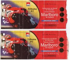Lot 2 Tickets : Championnat Du Monde MOTO. Gran Premio Marlboro D'Espagne Mai 2001. Circuit De JEREZ, Tribune P7 - Tickets - Vouchers
