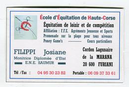 Carte De Visite °_ Carton-Ecole D'Equitation De Haute.Corse-Josiane-20 Furiani - Visiting Cards