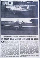 ► AVIATION (1958) Aérodrome Chateau-Bougon Env. Nantes  Avion  Mauboussin De M Glotin - Coupure De Presse (Encart Photo) - Historical Documents