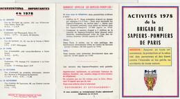 ACTIVITÉS 1978 De La BRIGADE DE SAPEURS-POMPIERS DE PARIS Avec Plan De Stationnement Des  Unités - Non Classificati
