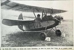 ► AVIATION (1958)  Essai Avion H.M. 293 De Cosandey - Aérodrome Fribourg Ecuvillons - Coupure De Presse (Encart Photo) - Historical Documents