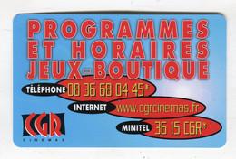 Cinémas CGR-Programmes Et Horaires-3615 CGR - Visiting Cards