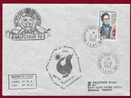 """TAAF 1990 Oblitéré YT 151 """" C.QUOY """" SUR  ENVELOPPE DE 1990 POUR LA REUNION CACHET St.PAUL - Lettres & Documents"""