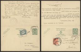 EP (double) Au Type 35ctm Vert De Bruxelles (1938) > Anvers + Réponse Taxée De Anvers > Bruxelles - Cartes Postales [1934-51]