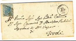 1871 ARSOLI DOPPIO CERCHIO + GRIGLIETTA PONTIFICIA SU 0,20 BIGOLA VITTORIO EMANUELE II - Marcofilía
