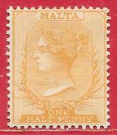 Malte N°4 0,5p Bistre (filigrane CA, Dentelé 14) 1882 (*) - Malta (...-1964)