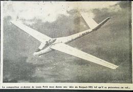 ► AVIATION (1958) Louis Petit  Planeur - Bréguet 905  - Coupure De Presse (Encart Photo) - Historical Documents