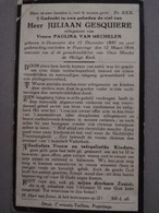 Bidprentje Gesquiere Juliaan Echt Van Mechelen ° Dranoutre 1887 Overl Poperinge 1934 - Todesanzeige