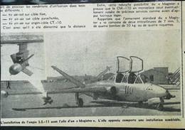 """► AVIATION (1958) Avion De Chasse Armenent D'un """"Magister""""  - Coupure De Presse (Encart Photo) - Historical Documents"""