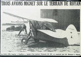 ► AVIATION (1958) Aérodrome De ROYAN - Avion H.M. Papillon Poinsard  De M. Bouquet  - Coupure De Presse (Encart Photo) - Historical Documents