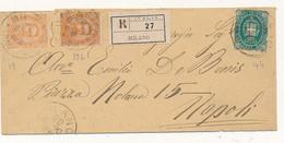 1890 UMBERTO RACCOMANDATA 2X0,20 DI COLORI COMPLETAMENTE DIVERSI + 0,5 STEMMA PIENO - Marcofilía