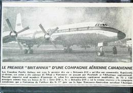 """► AVIATION (1958)  Vancouver - Premier Vol Britannia"""" Canadian Pacific Vers Amsterdam - Coupure De Presse (Encart Photo) - Historical Documents"""