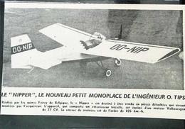 ► AVIATION (1958) Usine Aérodrome De FAIREY (Belgique) Avion Monoplace Nipper - Coupure De Presse (Encart Photo) - Historical Documents