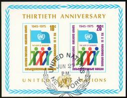 UNO New York 1975 Mi 283B-284B Sh6 - 30th Anniversary Of UN - CTO - Gebraucht