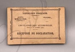 #VP175 - Carte Grise Circulation Des Automobiles Récépissé De Déclaration 1927 Dijon Renault 6 Chevaux Côte D'Or - Historical Documents
