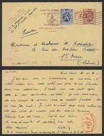 EP Au Type 40ctm Lilas Lion Héraldique P010 + N°285 Expédié De Bruxelles (Q.L.) > St-Ouen / P010 Au Verso ! - Cartes Postales [1909-34]