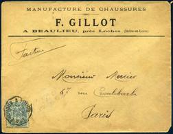 Ambulant Convoyeur Ligne Châteauroux à Tours 1903 Type 2 111 Blanc Manufacture De Chaussures F Gillot à Beaulieu Loches - Bahnpost