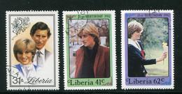 LIBERIA- Y&T N°912 à 914- Oblitérés (Lady Diana Spencer) - Liberia
