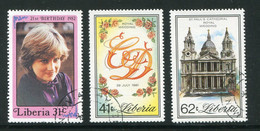 LIBERIA- Y&T N°942 à 944- Oblitérés (Lady Diana Spencer) - Liberia