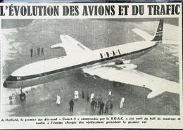 "► AVIATION (1958) HATFIELD Aerodrome ""COMET-4"" British Overseas Airways Corporation   - Coupure De Presse (Encart Photo) - Historical Documents"