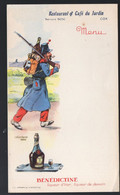 Cox (31 Haute Garonne) Menu (vierge) RESTAURANT/CAFE DU JARDIN, Avce Pub BENEDICTINE (militaria) (PPP28835) - Menus