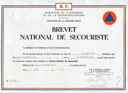 Diplôme °_ Brevet National De Secouriste - 1985 - Diplômes & Bulletins Scolaires