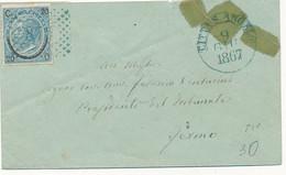 1867 CITTA' S ANGELO CERCHIO LUOGOTENZIALE + NUMERALE A PUNTI TUTTO IN AZZURRO - Marcofilía