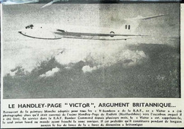 "► AVIATION (1958) Bombardier Supersonic Britanique RAF Handley-Page ""V Bomber Victor"" Coupure De Presse (Encart Photo) - Historical Documents"