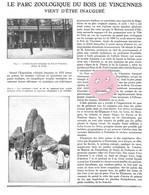 ARTICLE 1934 ZOO Du Bois De VINCENNES PARIS 3 Pages, 12 Photos N&B - Historical Documents