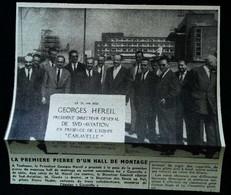 ► AVIATION (1958)  Toulouse Sud Aviation - Inauguration Hall De Montage Caravelle - Coupure De Presse (Encart Photo) - Historical Documents