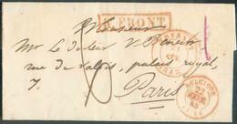 LAC DeTOURNAYle 21 Février 1848 + Griffe RougeR.FRONT.vers Paris; Port De '6' Décimes. Belle Fraîcheur. -Superbe - - 1830-1849 (Independent Belgium)