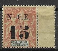 "Nouvelle Caledonie 1902 Mh Nc * 15 Euros OVERPRINT ERROR ""5"" - Nuevos"