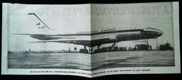 ► AVIATION (1958)  Aérodrome De Prague - Tupolev TU-104 Ceskoslovenske Aerolinie - Coupure De Presse (Encart Photo) - Historical Documents
