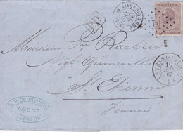 Belgique - COB 19 Sur Pli De Anvers (Station) à Saint-Etienne - Amb. Quiévrain - 10/06/1867 - 1865-1866 Profile Left