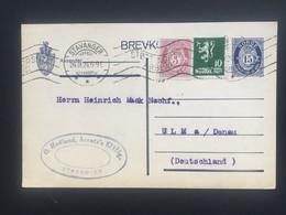 NORWAY 1924 Brevkort - Stavanger To Ulm Germany - 2 Scans - Postal Stationery