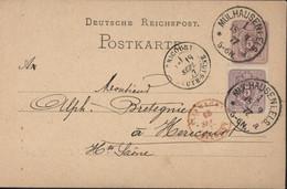 Entier Deutsche Reichspost YT 31 Lilas 5pf CAD Mülhausen (Els A 1  18 9 77 5-6N) Entier Repiqué Ets J Gel Gros Mulhouse - Stamped Stationery
