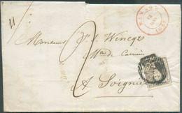 N°6 - Médaillon 10 Centimes Brun, TB Margé Et 1 Voisin, Obl. P.107 Sur Lettre DeMANAGEle 12 Janvier 1853 Vers Soignies - 1851-1857 Medaillen (6/8)