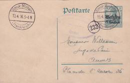 Belgique - Entier 5ct Sur 5Pf De Vireux-Molhain (France) Vers Anvers - 13/04/1916 - Censurée à Givet - Voir Desc. - [OC1/25] Gen. Gouv.