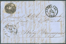 N°10 - Médaillon 10 Centimes Brun, Superbe Oblitération P.65 Sur Lettre Datée DeWASMESvia CàdJEMMAPESdu 2 Octobre 18 - 1858-1862 Medallones (9/12)