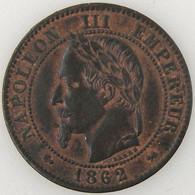 France, Napoleon III, 2 Centimes 1862 K, TTB, KM# 796.6 - B. 2 Centimes