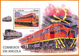 A5521 - ANGOLA - ERROR, 2019, MISPERF, SOUVENIR SHEET: Trains, Locomotives, Flags - Trains