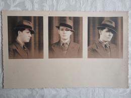 Photo Vintage Homme Portant Chapeau - 3 Poses Différentes - 17 X 11 - Persone Anonimi