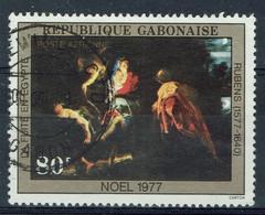 Gabon, 80f, Rubens, La Fuite En Egypte, 1977, Obl, TB Poste Aérienne - Gabon