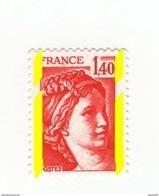 Sabine 1.40fr Rouge YT 2102d Avec Phospho à Cheval, Papier LUMI Sous UV. Voir Scan. Cote YT : 13 € Maury N° 2107a : 13 € - Varietà: 1980-89 Nuovi