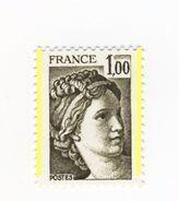 Sabine 1fr Olive YT 2057e Avec 2 Demies Bandes Phospho . Superbe , Voir Le Scan . Cote YT : 12 € . - Varietà: 1970-79 Nuovi