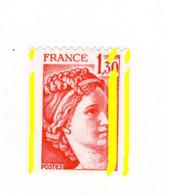 Sabine 1fr30 Rouge De Roulette YT 2063f Avec 3 Bandes Phospho Et à Cheval . Superbe , Voir Le Scan . Cote YT : 10 € - Varietà: 1970-79 Nuovi